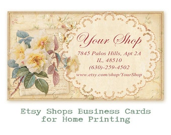 Business cards on Printable Digital collage sheet Printable Download Personalized business cards Yellow shabby cards - SHABBY SHOP CARDS