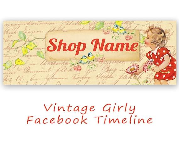 Vintage Facebook Timeline Cover Digital Download GIRLY