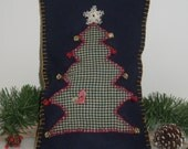 CHRISTMAS PILLOW, OOAK Folk Art Pillow, Handmade, Christmas Tree, Navy Blue Wool,Green, Red Bells, Gold Bells