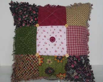 PILLOW QUILTED Handmade, Cottage Chic, Country Decor, Red, Green, Pink, Earth Tones, Home and Living, Home Decor,