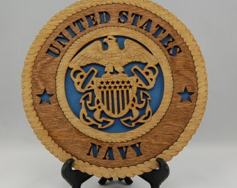 """Mini Laser cut and hand finished """"United States Navy""""  desk plaque.  Terrific gift for a USN veteran or retiree!"""