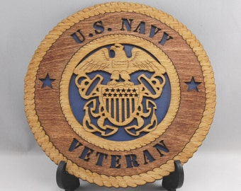 Mini Laser cut and hand finished US Navy Veteran desk plaque.  Terrific gift for a USN veteran or retiree!
