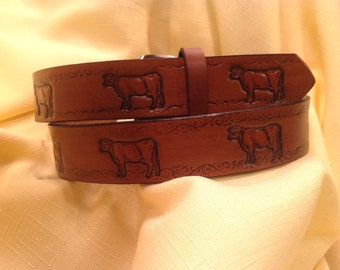 Kids Hand Tooled Leather Belt with Cows Great for Live stock Shows