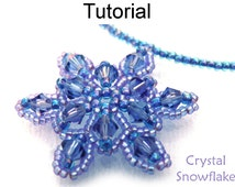 Beading Tutorial Pattern Necklace Pendant - Winter Holiday Jewelry - Simple Bead Patterns - Crystal Snowflake #615