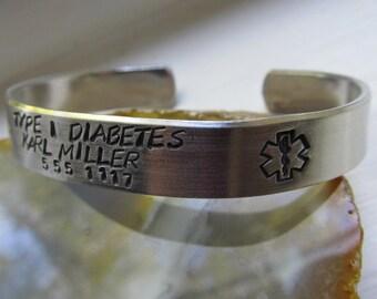 Medical Alert Bracelet Personalized Medical Bracelet Aluminum Cuff Bracelet Hand Stamped Bracelet