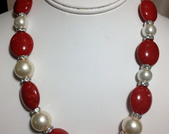 Red, Pearl and Swarovski Rounds  Necklace.