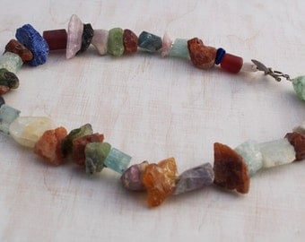 Chunky Assorted Semi Precious Stone Rough and Polished Nugget Bead Necklace christmas gift
