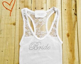 Bride Tank Top. Half Lace-Back Tank Top. Bridal Party Tank Top. Bridesmaid, Maid of Honor Shirts.