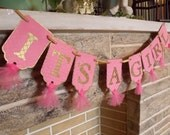 It's A Girl Banner, Embossed Banner with Tulle in Pink and Gold, Baby Girl Banner, Baby Shower Decoration, Pink and Gold Banner
