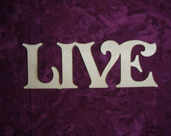 Live Word Unfinished Wood Cut Out Connected Wooden Letters