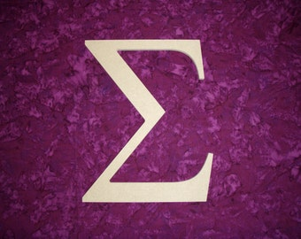 "Greek Letter Sigma Symbol Unfinished Wooden Letters 6"" Inch Tall Paintable"