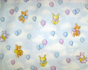 FREE SHIPPING - Play Day Park balloons flannel fabric - cats bears rabbits hanging from balloons in a blue sky - YARD
