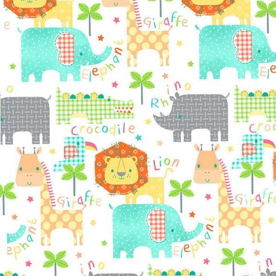 Animal names flannel fabric lion elephant giraffe by for Baby nursery fabric yard