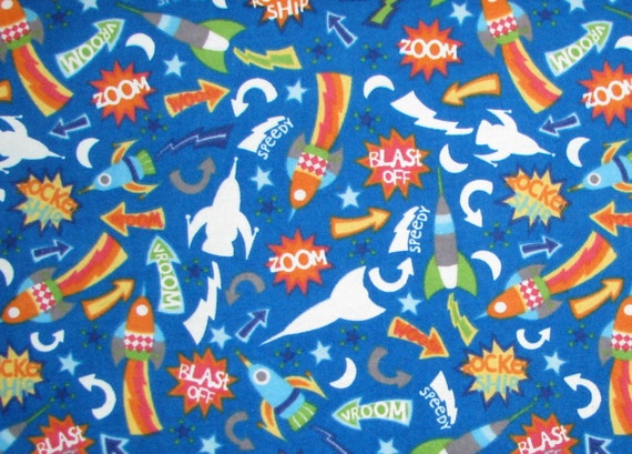 Glow in the dark space flannel fabric rockets space ships moon for Space fabric by the yard