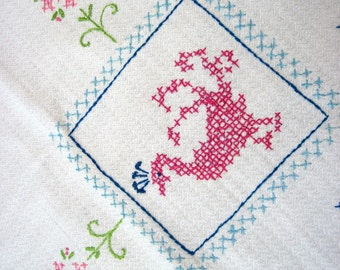 Hand Embroidered Tablecloth in Pink, Blue and Green