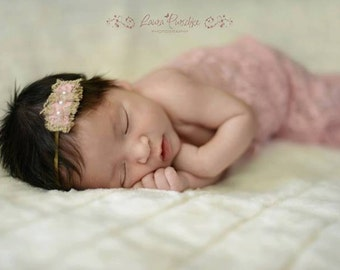 SET: Any One Lace Wrap and Any One Headband for Newborn Photo Shoot at a Discounted Price, Infant Photo Prop, Newborn Wrap Set, Newborn Prop