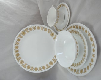 Reserved - Five Gold Butterfly Corelle Livingware Six Piece Place Settings - Cool Retro Vintage Dinnerware