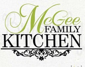 Custom Name, Family Kitchen with Classic Damask Scroll, Vinyl Decal- Wall Art, Kitchen Decor