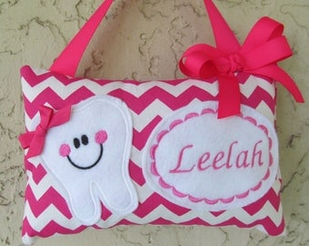 Tooth Fairy Pillow Chevron Hot Pink