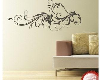 Floral swirl vinyl wall decal sticker