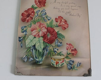 Vintage Glass Framed Mother's Day Greeting Morning Glory