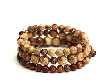 Earthy Layered Gemstone Memory Wire Bracelet - Earth Tone Bracelet, Brown Tan Natural Stone Bracelet