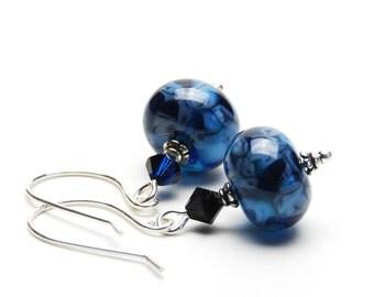 Indigo Blue Lampwork Earrings - Dark Blue and Light Blue Lampwork Glass Earrings on Sterling Silver Earwires