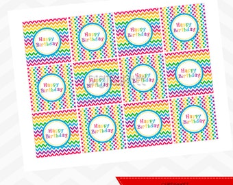 Rainbow Chevron Cupcake Toppers - INSTANT DOWNLOAD