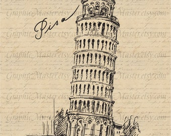 Leaning Tower of Pisa Italy Traveling Graphics Digital Image Download Iron on Transfer Clip Art pillows fabric bags tea towels PNG JPG Sepia