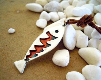 Zig Zag Fish Sterling Silver Long Pendant with Rainbow Enamel and Brown Leather Cord