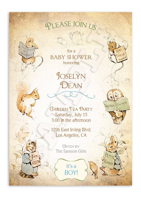 Peter Rabbit Baby Shower Invitations with adorable invitations template