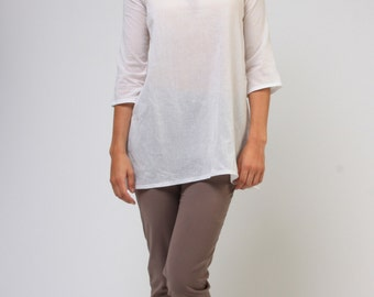 Sale Long summer cotton tunic with 3/4 sleeves