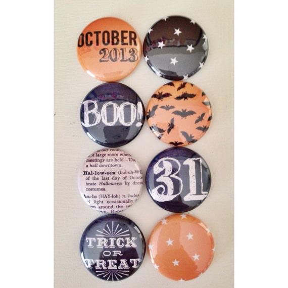 Set of 8 October Halloween Craft Badges Pins