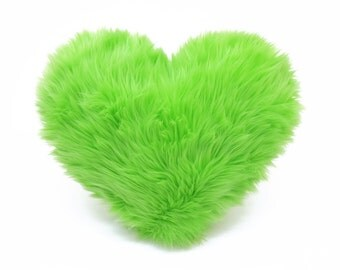 Lime Green St Patricks Day Decor Faux Fur Heart Shaped Decorative Pillow - Small Size