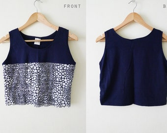 100% Cotton Navy sleeveless tank top, crop top, blouse, indie, two tone with polka dot prints layers at front  - Navy Polkadot