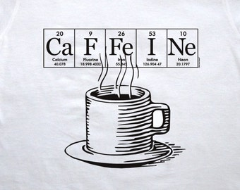 Caffeine Coffee hand-screened tee shirt ElementeesTM  tee shirt for the nerd in you