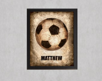 Soccer - PERSONALIZED photo print - Type Poster Wall Art Textured Beige Tan Black Vintage Baby Boy Sports Dad Fathers Day Grad Nursery Decor