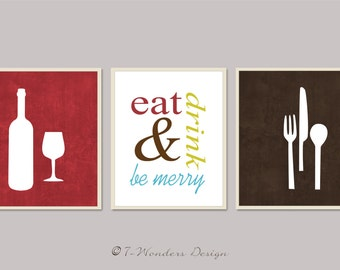 Modern Kitchen Art Print Set, Eat Drink and Be Merry - Set of (3)  Prints - Burgundy, White, Brown // Modern Kitchen