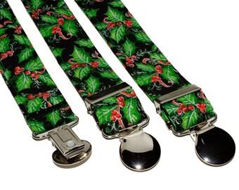 Black MistleToe Adjustable Suspenders