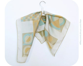 80s vintage scarf, 90s vintage scarf, geometric pattern scarf