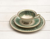 Vintage Tea Cup and Saucer Trio Set Turquoise Nouveau - CirceCollectables