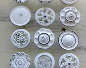 12 Misfit Knobs Shabby Chic White Kitchen Reno Cabinet Pulls Vintage Pantry Reclaimed Bathroom Hardware Drawer Pulls Cupboard Pull