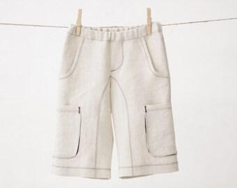 Boys natural linen shorts Boys Cargo shorts Toddler boy linen pants Boys trousers Boys summer clothes Boys clothing