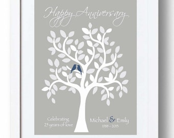 Silver Wedding Anniversary Presents Husband : 25th Anniversary Gift for Parents - 25th Silver Anniversary print ...