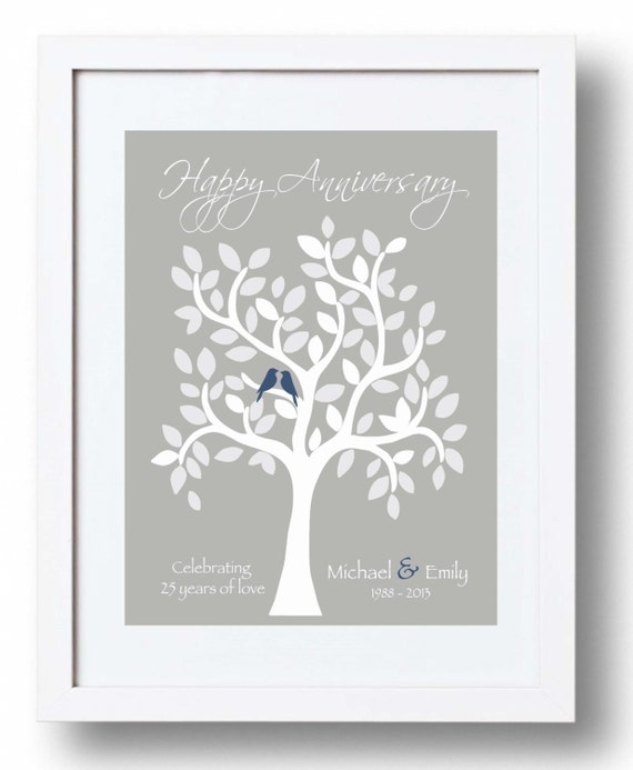 Wedding Anniversary Gifts 25th Year : 25th Anniversary Gift for Parents25th Silver Anniversary print ...