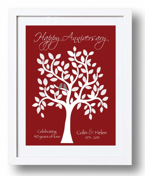 Wedding Anniversary Gifts For Parents 40 Years : Gift for Parents40th Ruby Anniversary printPersonalized Wedding ...
