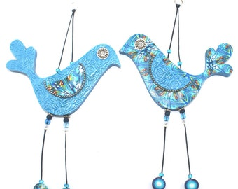 Wedding gift, Handmade love birds, Wall decor love birds, Polymer clay birds, Birds couple with Blue, Turquoise, Green and White, A pair