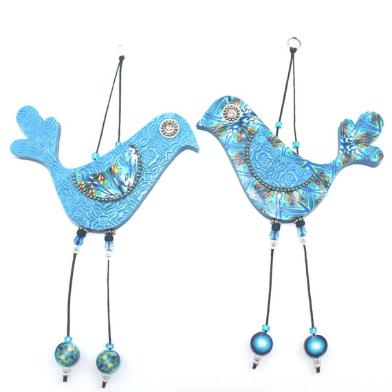Handmade love birds, Wall decor love birds, Polymer clay birds, Birds couple with Blue, Turquoise, Green and White, A pair
