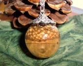 Acorn Resin Globe Orb Necklace Autumn Sphere