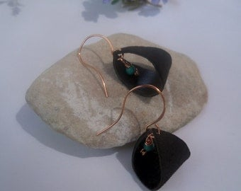 copper earwires, leather dangle earrings, turquoise bead